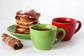 Pancakes and coffee for breakfast — Stock Photo