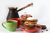 Pancakes and coffee for breakfast — 图库照片
