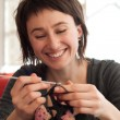 Young girl crochet - Stock Photo