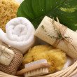 Soothing spa basket - Stock Photo