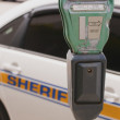 Traffic meter and Sheriff car — Stock Photo