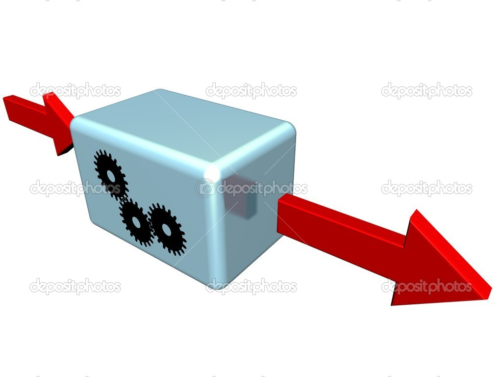 Arrows-surrounded box representing concepts such as a process, an activity, a task or a step — Stock Photo #4810972