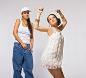 Two young woman dance — Foto de Stock