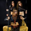 Three woman with spear — Stock Photo