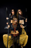 Three woman with spear — Photo