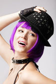 Disco girl with purple hair, hat and collar — Stock Photo