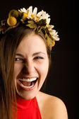 Smile young pretty woman with wreath — Stock Photo
