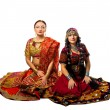 Two woman sit in traditional indian costume — Stock Photo