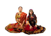 Two woman sit in traditional indian costume — Foto Stock