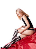 Young girl dress striped socks — Stock Photo