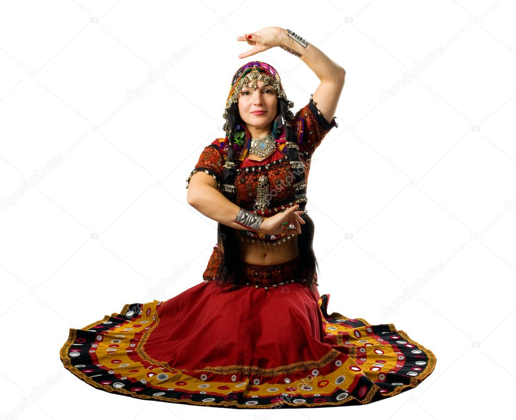 Mature woman sit in traditional indian costume with hand sign — Stock Photo #4705107