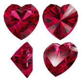 Ruby red heart shape isolated — Stock Photo