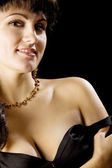 Beautiful woman with naked shoulder — Stock Photo