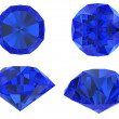 Stock Photo: Blue diamond set with different view isolated