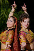 Two young woman dance - indian cloth — Foto Stock