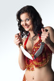 Insane woman with knife smile — Stock Photo