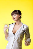 Sexual woman in nurse suit with stethoscope — ストック写真