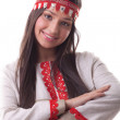 Young girl in dance pose and smile - flax cloth — Stock Photo