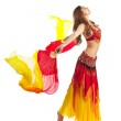 Beauty girl dance with fantail in oriental costume — Stock Photo