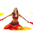 Beauty young woman dance with fantail — Stock Photo