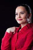 Casual adult woman in red suit — Stock Photo