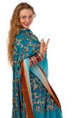 Beauty girl posing in blue oriental indian costume — Stock Photo