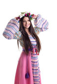 Young girl with garland - oriental russian costume — Stock Photo