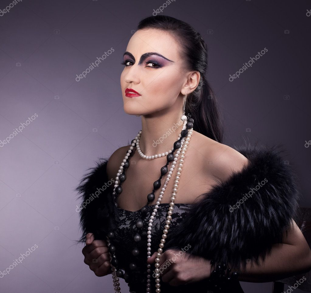 Proud woman look at you - retro make-up — Stock Photo ...