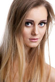 Pretty blond girl look at you - close-up portrait — Stock Photo