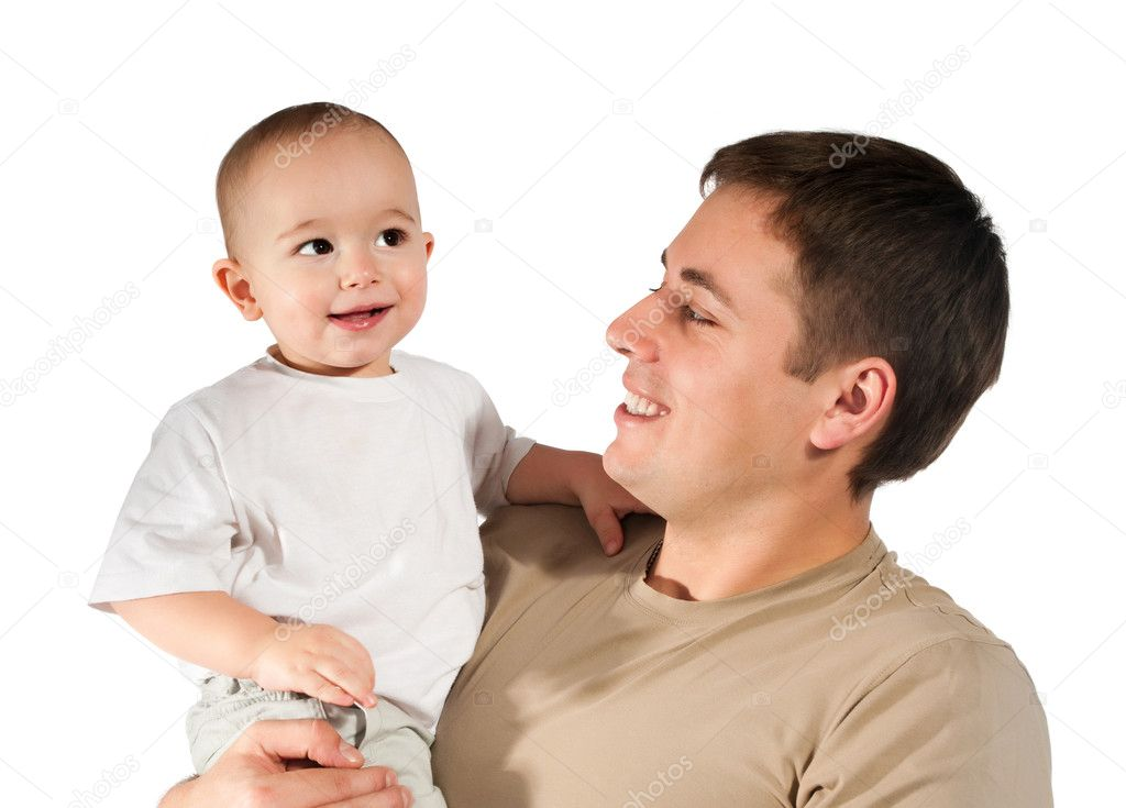 Father with baby on a white background — Stock Photo #4685074
