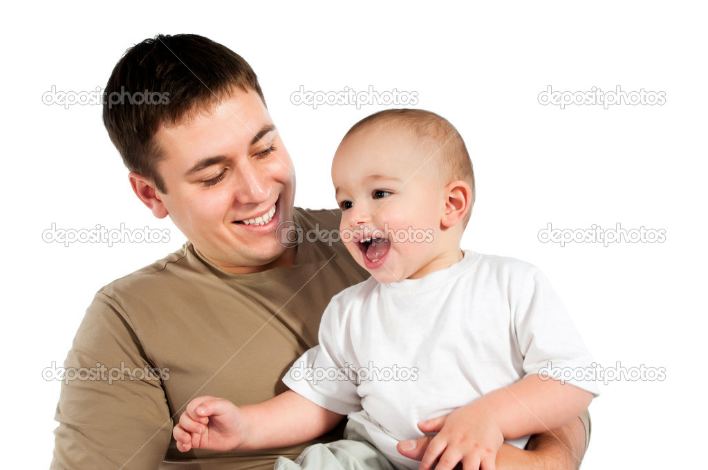 Father with baby on a white background  Stock Photo #4685076