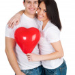 Couple with a red heart — Stock Photo #4732287