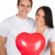 Couple with a red heart — Stock Photo #4732288