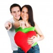 Couple with a red heart — Stock Photo #4927397