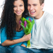 Couple with tulips — Stock Photo