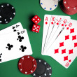 Playing cards and chips — Foto Stock