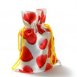 Gift bag with hearts — Stock Photo