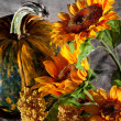 Still life with pumpkin and sunflowers — Stock Photo
