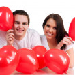 Couple with a red heart - Stockfoto