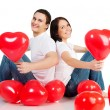 Stock Photo: Couple with a red heart