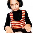 Photo portrait of beautiful preschool child with headphones and — Stock Photo