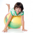 Little girl on a big ball — Stock Photo #4977097