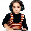 Photo portrait of beautiful preschool child with headphones and - Stock Photo