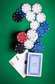 Playing cards and chips — Stok fotoğraf