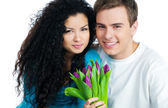 Couple with tulips — Foto Stock