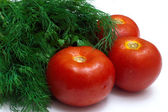 Bunch of fresh herb and tomatoes — Stock Photo