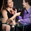 couple, boire du vin — Photo