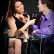 Loving Couple With Wineglasses - Stock Photo