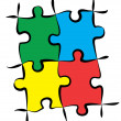 Colorful Puzzle Pieces — Vector de stock #5258924
