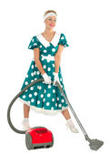 Cute Young Retro Housewife — Stok fotoğraf